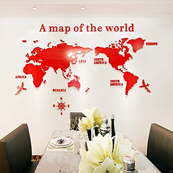HTY66ZM Creative World Map Acrylic Decorative 3D Wall Sticker For Living Room Bedroom Office Decor 5 Sizes DIY Wall Sticker Home Decor Red XXL 2 8x1 4m