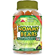 Nommy Bears MULTIVITAMIN Vegetarian, Gelatin-Free Gummies for Kids, Children, Men, Women •5 Delicious Flavors •11 Essentials •Gluten-Free •Halal/Kosher Friendly •Mommy Approved •Bear Shapes •90 Count