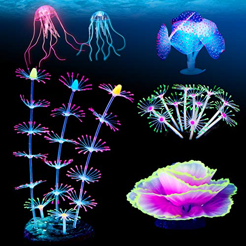 Weewooday 6 Pieces Aquarium Fish Tank Ornament Glowing Silicone Aquarium Ornaments Artificial Floating Jellyfish Simulation Strip Coral Plant Decorations Landscape