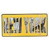 Shinewe New York Vintage Vieux Maison de Plaque d'immatriculation Décoration Murale Garage Art Mural Poster 15x 30cm