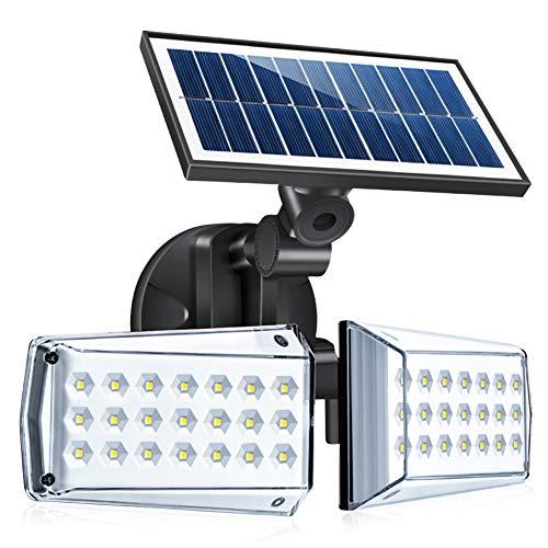 FOLUR Luce Solare Led Esterno con Sensore di Movimento, 42 LED 550LM, 270°Regolabile Lampade da Parete, Luci Solari di Sicurezza ad Energia Solare per Balcone, Giardino, Terrazza, Garage, Portico