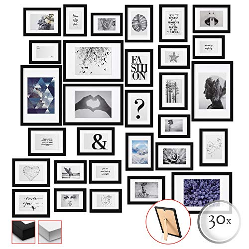 bomoe 30er Set Bilderrahmen Emotion Bilder-Collagen Fotorahmen aus Holz, Kunststoffglas, Metall-Aufhängung, Aufsteller & Passepartout - 10x 10,5x15cm / 15x 13x18cm / 5x 20x30cm - Schwarz
