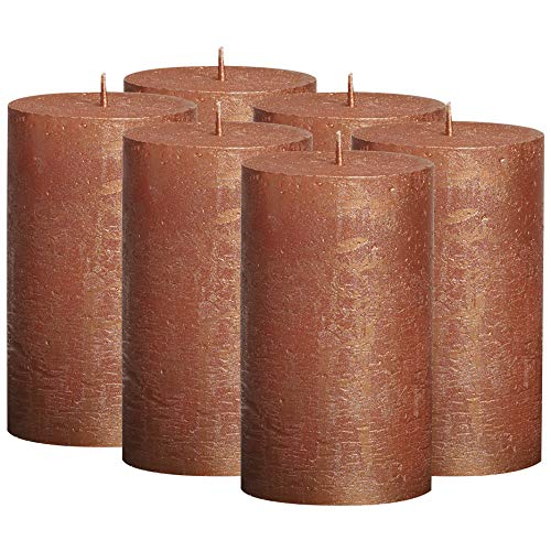BOLSIUS Rustic Metallic Set of 6 Copper Unscented Pillar Candles Inches – 2.75 X 5 Decoration Dinner Party Wedding Candles – Perfect Use for Home Décor - Church-Spa Candle – Restaurant 130/68m…