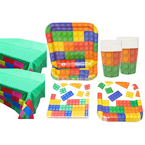 Brick Party Deluxe Party Packs (70 Pieces for 16 Guests!), Block Birthday Tableware Sets