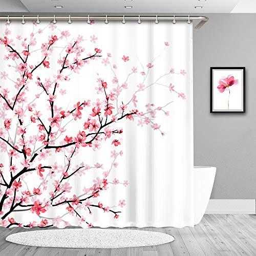True Holiday Duschvorhang, wasserdicht, Polyester, schimmelresistent, antibakteriell, mit 12 Haken 180 x 180 cm C-White-Cherry