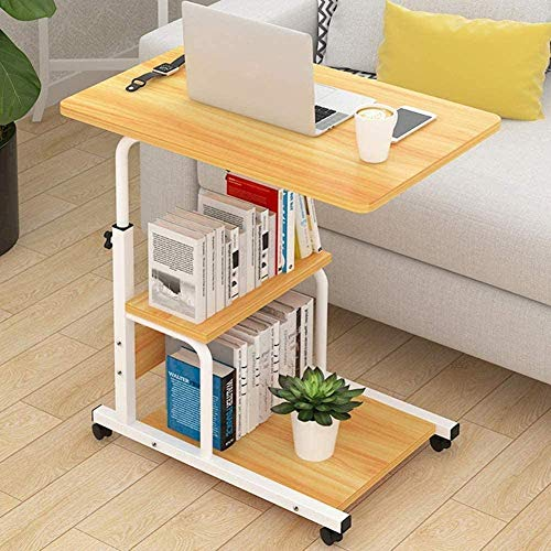 H-CAR Mdf - Mesa de ordenador portátil móvil, mesa de trabajo, mesa de estudio, mesa para mesita de noche, sala de estar, escritorio con ruedas B 60 x 40 cm - C_60 x 40 cm
