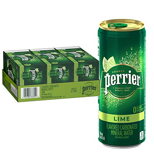 Perrier Lime Flavored Carbonated Mineral Water 845 Fl Oz 30 Pack Slim Cans