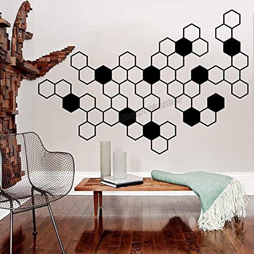 Nido De Abeja Hexagonal Etiqueta De La Pared De Vinilo Decoración De La Pared Panal De Miel Dormitorio Familiar Sala De Estar Decoración 61X42 Cm