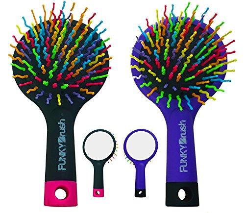 Spazzola styling multifunzionale - Volume booster - NERO-ROSA - Pennello volume - Con specchio integrato - maneggevole e mobile - anche per i bambini