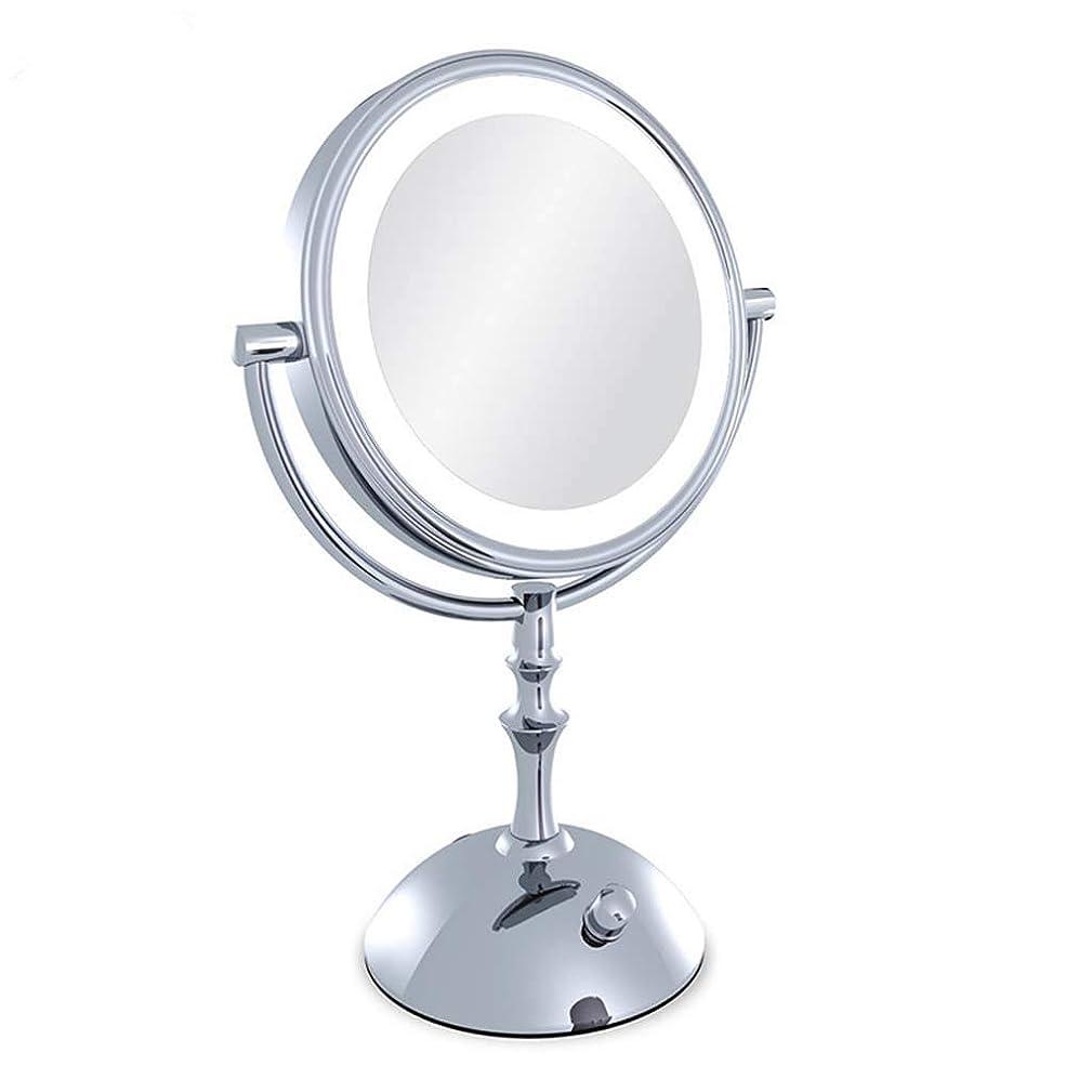 最愛の満足できる草浴室の虚栄心ミラーミラー、ドレッシングミラー、360°スイベル化粧鏡、3倍の拡大照明付き化粧鏡、両面丸型拡大鏡、シェービングミラー自立型、バス
