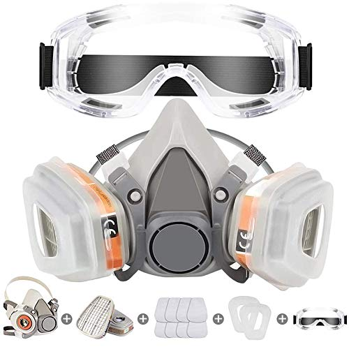 Respirator Mask Reusable Half Face Cover Gas Mask with Safety Glasses Paint Face Cover Face Shield with Filters for Painting Welding Polishing Woodworking and Other Work Protection Medium