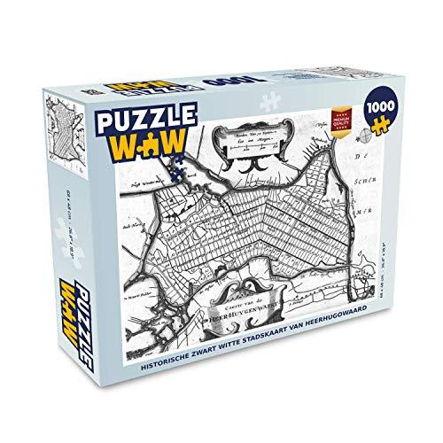 Puzzel 1000 stukjes volwassenen Historische stadskaarten 1000 stukjes - Historische zwart witte stadskaart van Heerhugowaard - PuzzleWow heeft +100000 puzzels - legpuzzel voor volwassenen - Jigsaw puzzel 68x48 cm