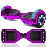 Hoverboard Electric Self Balancing Scooter 6.5' Wheel with Built in Bluetooth Speaker LED Side Lights Kids Gift Safety Certified (Chrome Purple)