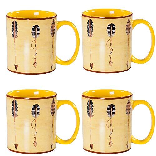 HiEnd Accents Large Arrow 4 Piece Mug Set, 20 ounce, Tan