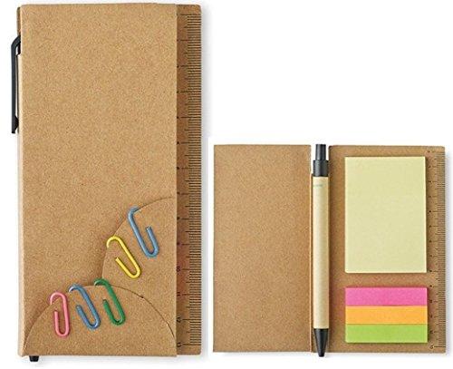 Notizzettel-Set selbstklebende Haftnotizen Haftstreifen Pagemarker bunte Büroklammern und recycelbarem Kugelschreiber
