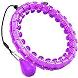 iKanzi Smart weighted Hoop, TikTok 2 in 1 Abdomen Fitness Exercising Equipment and Weight Loss Massager, Non-Fall Fitness Ring with 24 Detachable Knots Adjustable Weight Noiseless Auto-Spinning Ball (Purple)