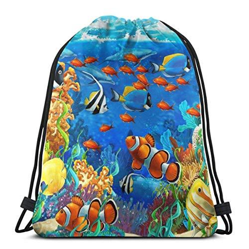 Light Ing Sacs à Dos avec Cordon de Serrage Ocean Sea Reef Fishes Hommes Sac de Rangement pour Cordes de randonnée léger