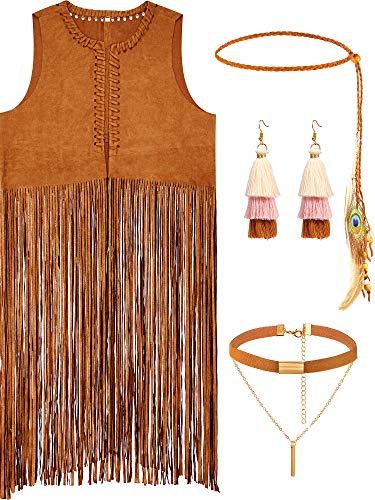 4 Pieces Women Hippie Costume Set Fringe Vest Faux Suede Tassels Vest (M)