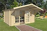 Lasita Maja Gartenhaus Aktion 29 mit Doppeltür und Einzelfenster I Wandstärke 28 mm