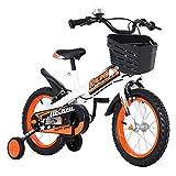 Asnails Kinderfahrrad Für 2-7 Jährige Mädchen, 12 14 16 Zoll Fahrrad Mit Stützräder & Rücktrittbremse - Einfache Montage Kinderfahrrad,Orange,16Inch