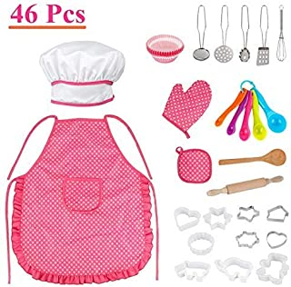 Chef Role Play Costume Set, 46 Pcs Toddler Cooking Baking Set with Chef Hat, Apron, Oven Mitt, Utensils for Little Girls Kids Kitchen Play Toy Toddler Chef Dress up Age 3 4 5 6 up