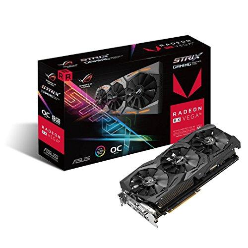 Asus ROG Strix RXVEGA56-O8G-Gaming Grafikkarte (AMD Radeon, PCIe, 8GB HBM2 Speicher, DVI, HDMI, DisplayPort)