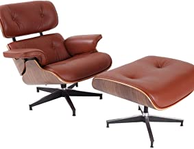 Lounge Chair with Ottoman, Mid Century Genuine Leather Recliner Modern Armchair Chaise with Aluminum Base for for Bedroom ...