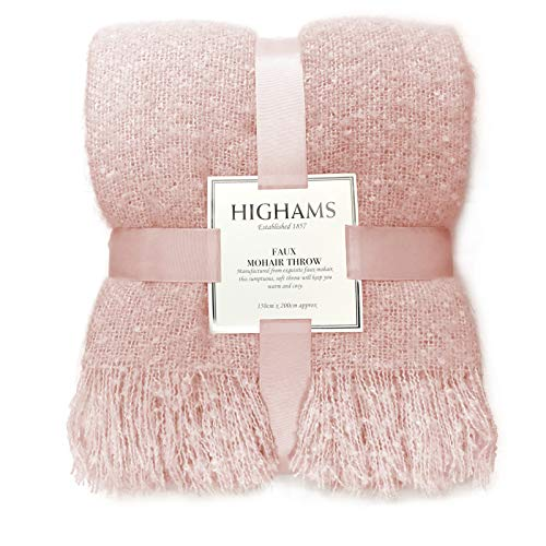 Highams Large Faux Mohair Throw Over Blanket Bed Sofa Settee Bedspread, Blush Pink - 150 x 200 cm MOHTHRBLS99