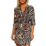 Camisa de Leopardo Sexy Moda Mujer, Kanpola Manga Larga por la Rodilla Vestido de Noche Especial único del Club 6 8 10 12