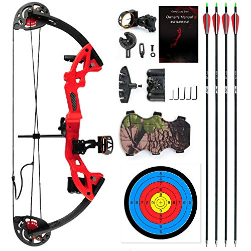 """E-ROCK Youth Compound Bow and Arrow Set with 4pcs Carbon Arrows Archery for Beginner Teenagers, Right Handed, 19""""-28"""" Draw Length, 15-29lbs Draw Weight Archery Hunting Equipment (Red)"""