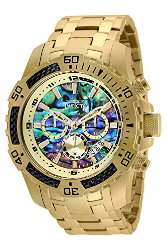 Invicta Men's Pro Diver Scuba Quartz Chronograph Carbon Fiber Bezel Abalone Dial Bracelet Watch, 50mm (Gold)