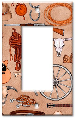 Art Plates - Single Gang Rocker Oversize Switch Plate/Over Size Wall Plate - Western