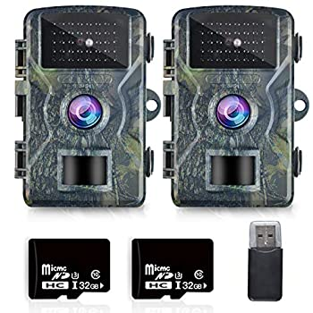OMOTOR Trail Game Camera,2 Packs 1080P 2.0  LCD Game & Night Vision Motion Activated Hunting Camera with Low Glow and Upgraded Waterproof IP66 for Outdoor Wildlife Watching