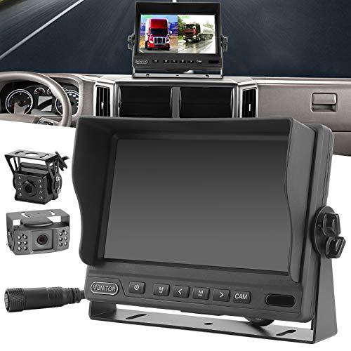 Kit De Monitor De Estacionamiento, 2 Cámaras De Salpicadero De Respaldo Divididas 1080P, 16: 9 Para Estacionamiento Con Vista Trasera