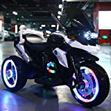 ZHWDD Enfants Moto électrique, alimenté par Batterie Tour sur Motor Bike 3 Roues avec Double Disque et LED Phares, Electric Ride sur Le Jouet Voiture avec Formation Roues Lecteur de Musique hefeide
