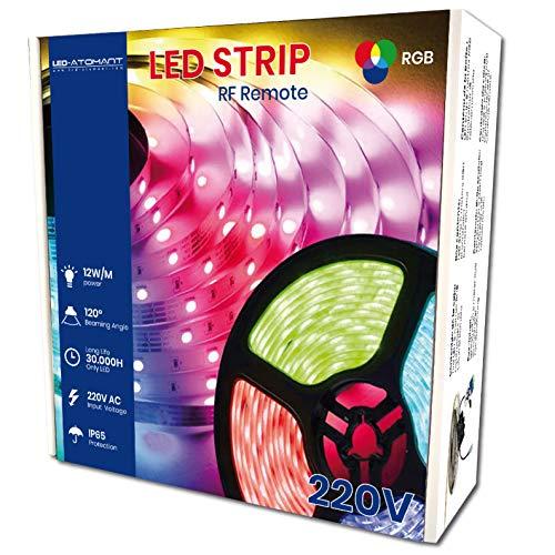 KIT de 5 metros de Tira de Luz LED RGB Directa a 220v con Controlador y Mando. Color RGB Impermeable. Corte cada 12,5cm. A++