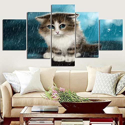 YB Poster Canvas Schilderen Dierenprint Kat regen 5 panelen/Set muurschildering voor woonkamer Canvas Kunstdruk Posters-20x25_20x40_20x55cm Geen lijst