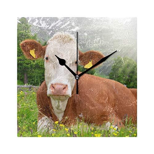 DEZIRO Wanduhr Kuh unter Sonnenschein Bild, batteriebetrieben, große Tischuhr, Standuhr, Zimmer/Schlafzimmer/Home/Büro/Schule