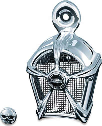 Kuryakyn 7296 Motorcycle Accessory: Mach 2 Horn Cover for 1995-2019 Harley-Davidson Motorcycles, Chrome with Black Mesh