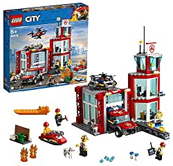 Build a feature-packed fire station with scout tower and separate garage, a fire toy vehicle, plus a drone with spinning rotors and a water scooter Includes a fire chief and three firefighters minifigures and a dog figure, plus a small build with tra...