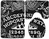KRWHTS Bathroom Toilet Rug Mat Set - 3 Pcs Non-Slip Memory Foam Extra Soft Shower Bath Rugs Contour Mat and Lid Cover for Bathroom (Witch Board Black Gothic Goth Occult Witchcraft)