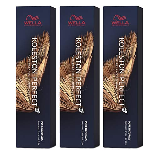 Wella 3 er Pack Koleston Perfect Me+ KP PURE NATURALS 6/0 dunkelblond