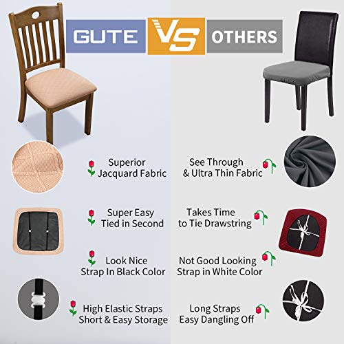 Gute Chair Seat Covers, Dining Room Chair Seat Covers with Ties, Stretch Jacquard Chair Covers Protectors for Dining Room Kitchen Chairs - Set of 4, Rhombic, Black