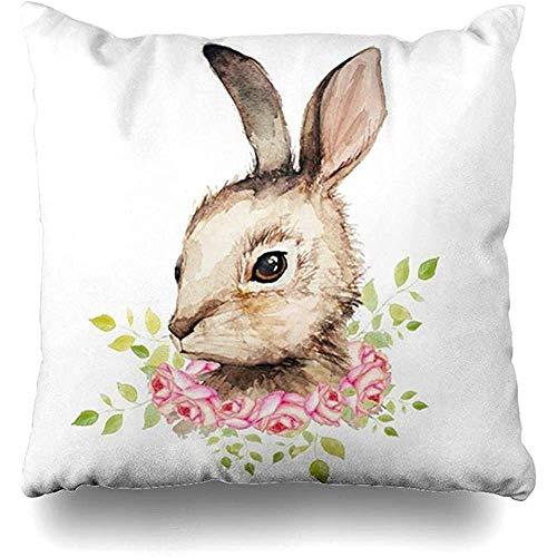GodYo Kussensloop, 1 pak, jumkim paashaas met bloemenkrans, sofa, schattig