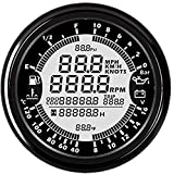 ELING ユニバーサル6-in-1多機能オートゲージ 汎用 GPS速度計 タコメーター アワーメーター 水温 燃料レベル オイルプレッシャーゲージ 電圧計 0-10Bar 12V 85mm(バックライト付)日本語説明書 船舶用 車用