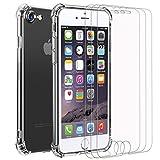 iVoler Custodia Cover per iPhone SE 2020 / iPhone SE 2 / iPhone 8 / iPhone 7 + 3 Pezzi Pellicola Vetro Temperato, Ultra Sottile Morbido TPU Trasparente Silicone Antiurto Protettiva Case