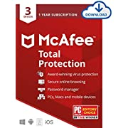 McAfee Total Protection 2021, 3 Device Antivirus Internet Security Software, Password Manager, Privacy, 1 Year - Download Code