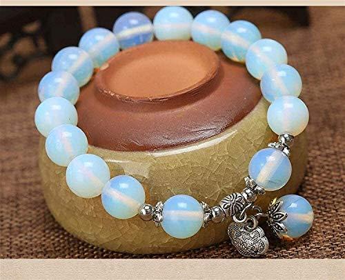 Gymqian Pulsera de Piedra Mujer, 7 Chakra Piedra Natural Beads Opal Elástico Bangle Lock Colgante Joyería Yoga Energía Reiki Reza Charm Diffuser Regalo para Pareja Exquisito