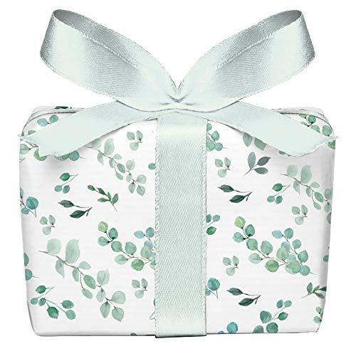 Geschenkpapier 3er Set 3 Bögen Eukalyptus Grün Weiß, für jeden Anlass Geburtstag Taufe Kommunion Konfirmation Ostern Hochzeit Weihnachten, gedruckt auf PEFC zertifiziertem Papier, 50 x 70 cm