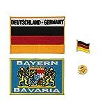 A-ONE - Confezione da 3 pezzi - Bandiera della Germania Baviera con toppa dei leoni + toppa ricamata con bandiera nazionale tedesca + spilla in metallo con bandiera della Germania